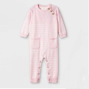 Baby 0-3mo Pink Striped Knit Coverall w/buttons